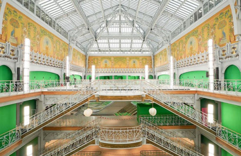 Louis Vuitton offered a sneak peek inside its freshly restored La Samaritaine hub for its SS21 show