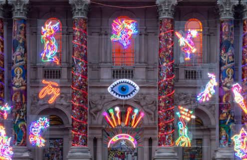 Neon lights festoon Tate Britain in this Diwali-inspired installation