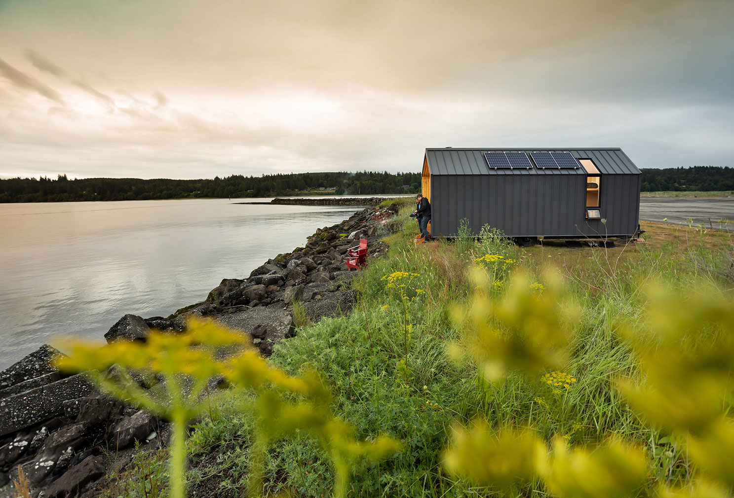 Modern Shed has released a towable prefab cabin, complete with a gable roof and wood-burning stove