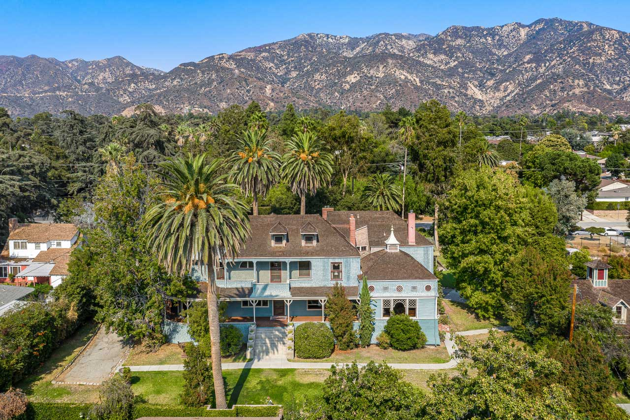 The historic Andrew McNally House sits at the foothills of the San Gabriel mountains