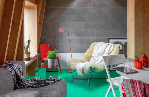 Would you rent this colourful co-living studio?