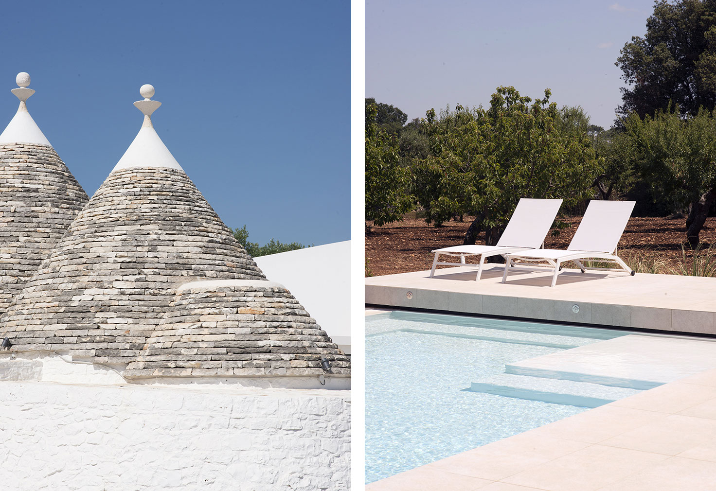 The house's conical roof has been restored and juxtaposed with modern interventions, including new white-washed volumes and a sleek stepped pool