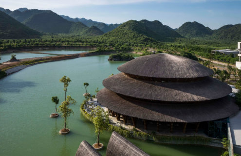 Vo Trong Nghia designs a soaring bamboo restaurant in the heart of a blossom forest
