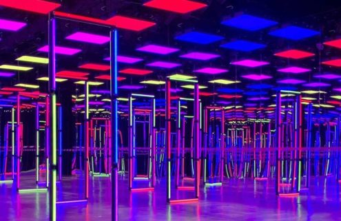 Fendi's AW21 set was aglow with neon lights and colour in Milan