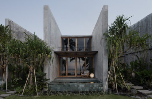 Concrete and bamboo frame jungle views at Bali's Tiing Tejakula resort