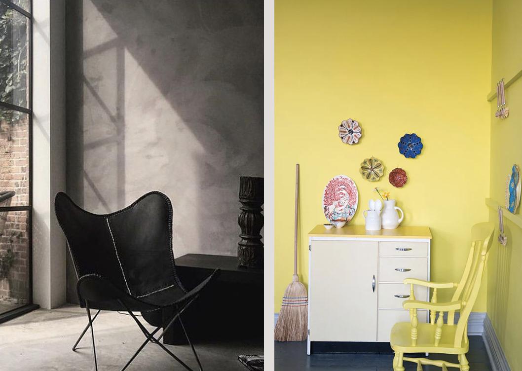Left to right: Milkweed limewash paint (c) Bauwerk and Yellowcake (c) Farrow & Ball