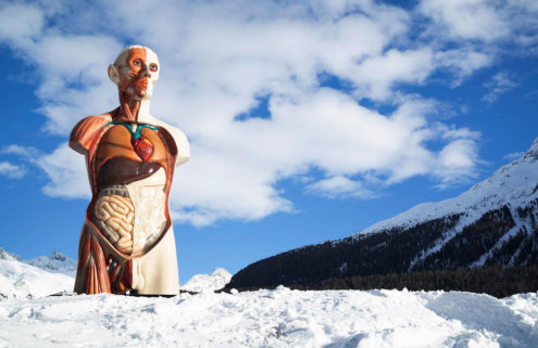 Damien Hirst installs his monumental sculptures on the shore of Lake St Moritz