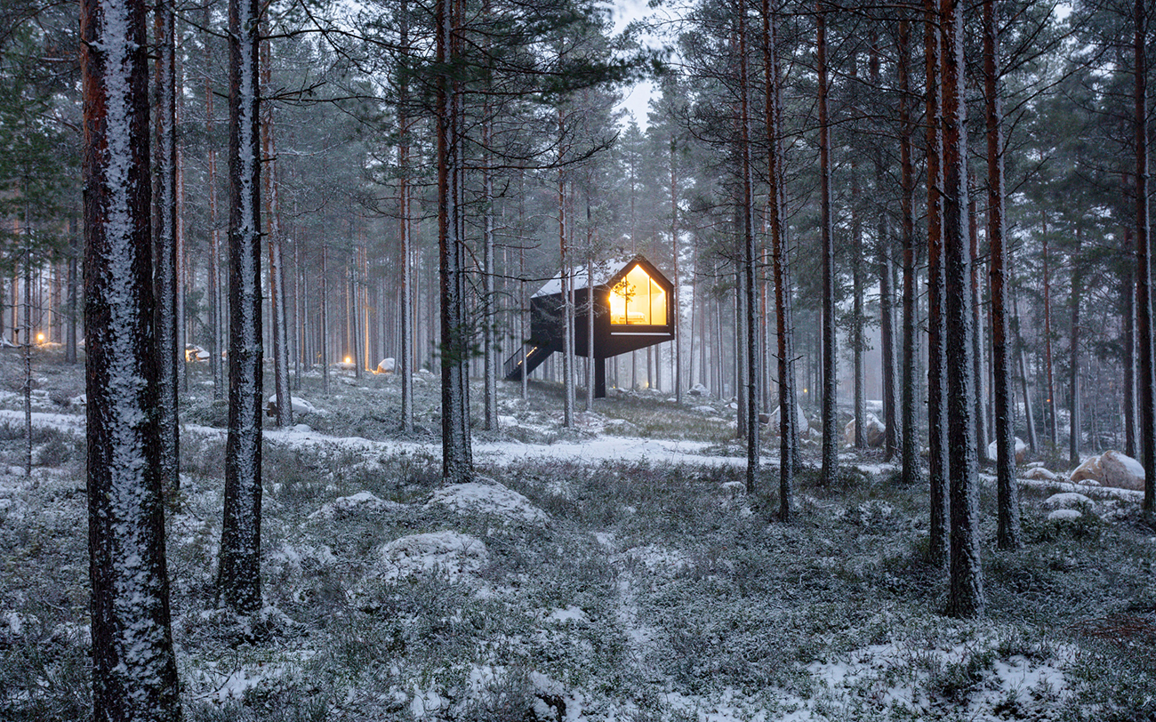 This stilted black cabin is the beginning of a new Finnish forest resort