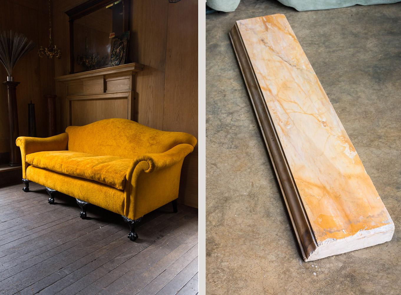 Sienna marble shelves and a Georgian style sofa