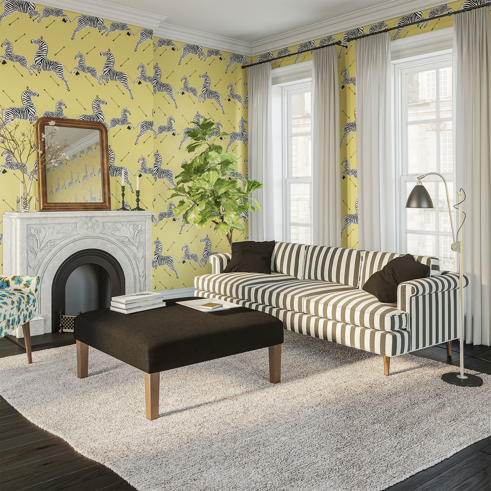 Pale yellow zebra wallpaper by Scalamandre (c)