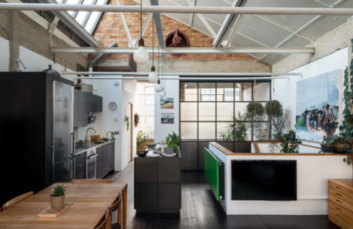 Converted shoe factory in East London houses a voluminous live/work space