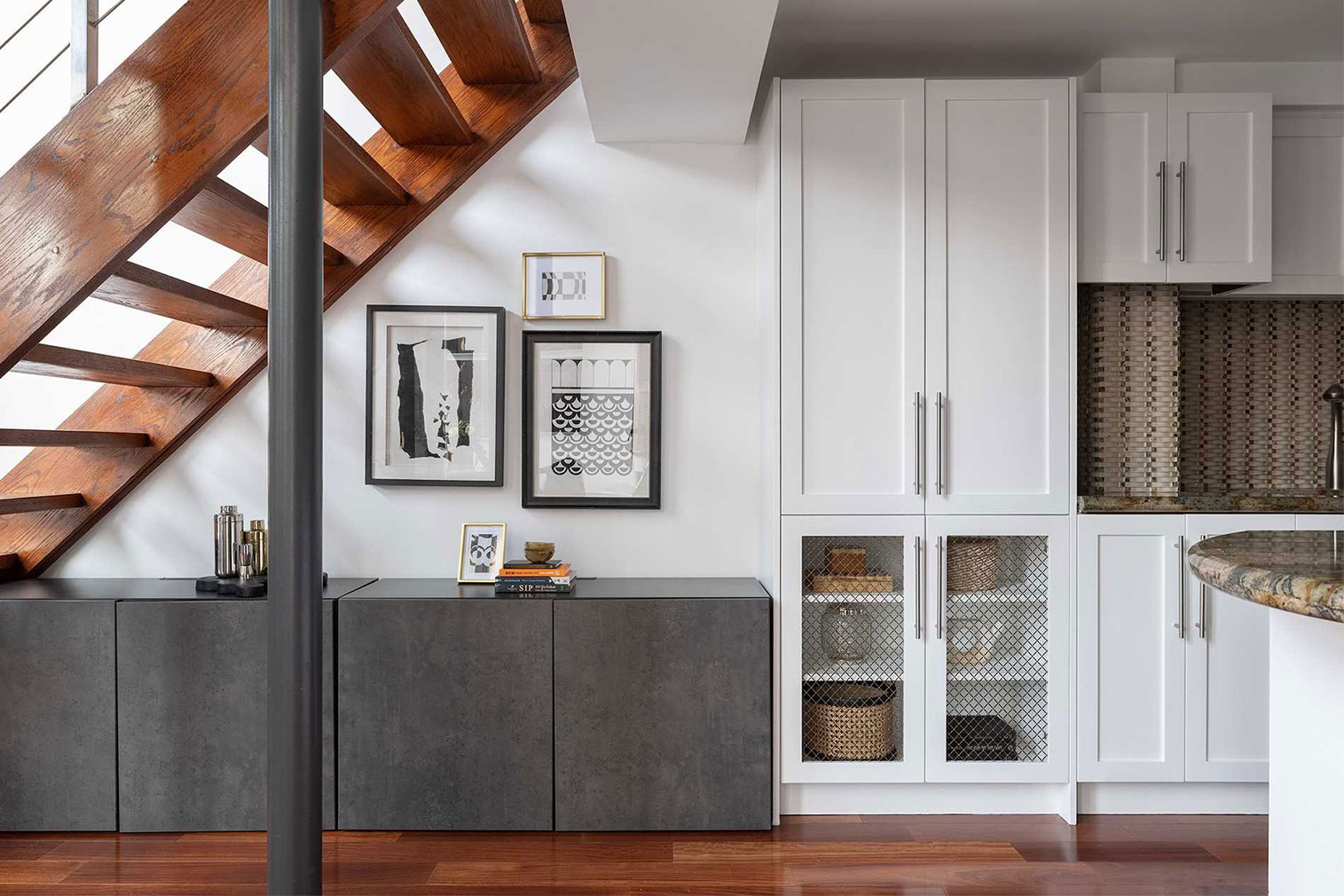The apartment features a chef-grade kitchen
