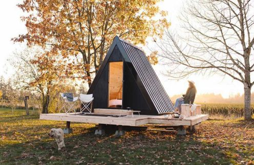 This compact A-frame cabin comes fully assembled