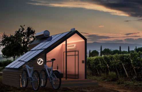 This solar-powered off-grid hut is loaded with smart tech