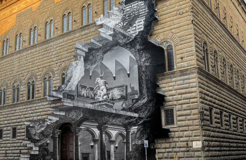 JR liberates the gallery of Florence's Palazzo Strozzi with giant 3D street installation