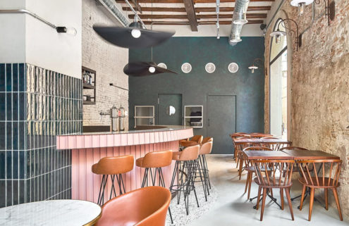 Interiors of restaurant Nina Barcelona celebrate the building's skeleton