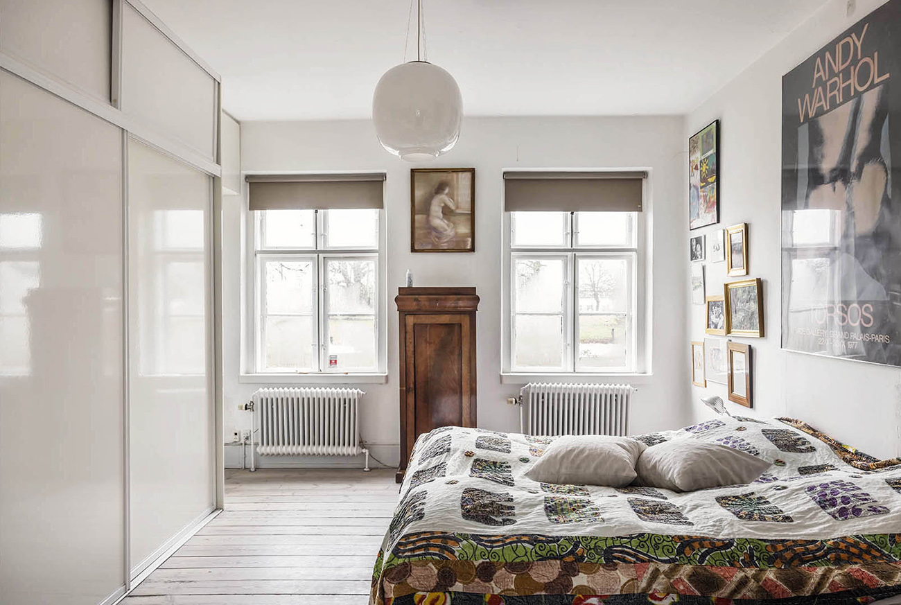 One of five bedrooms inside the Danish property