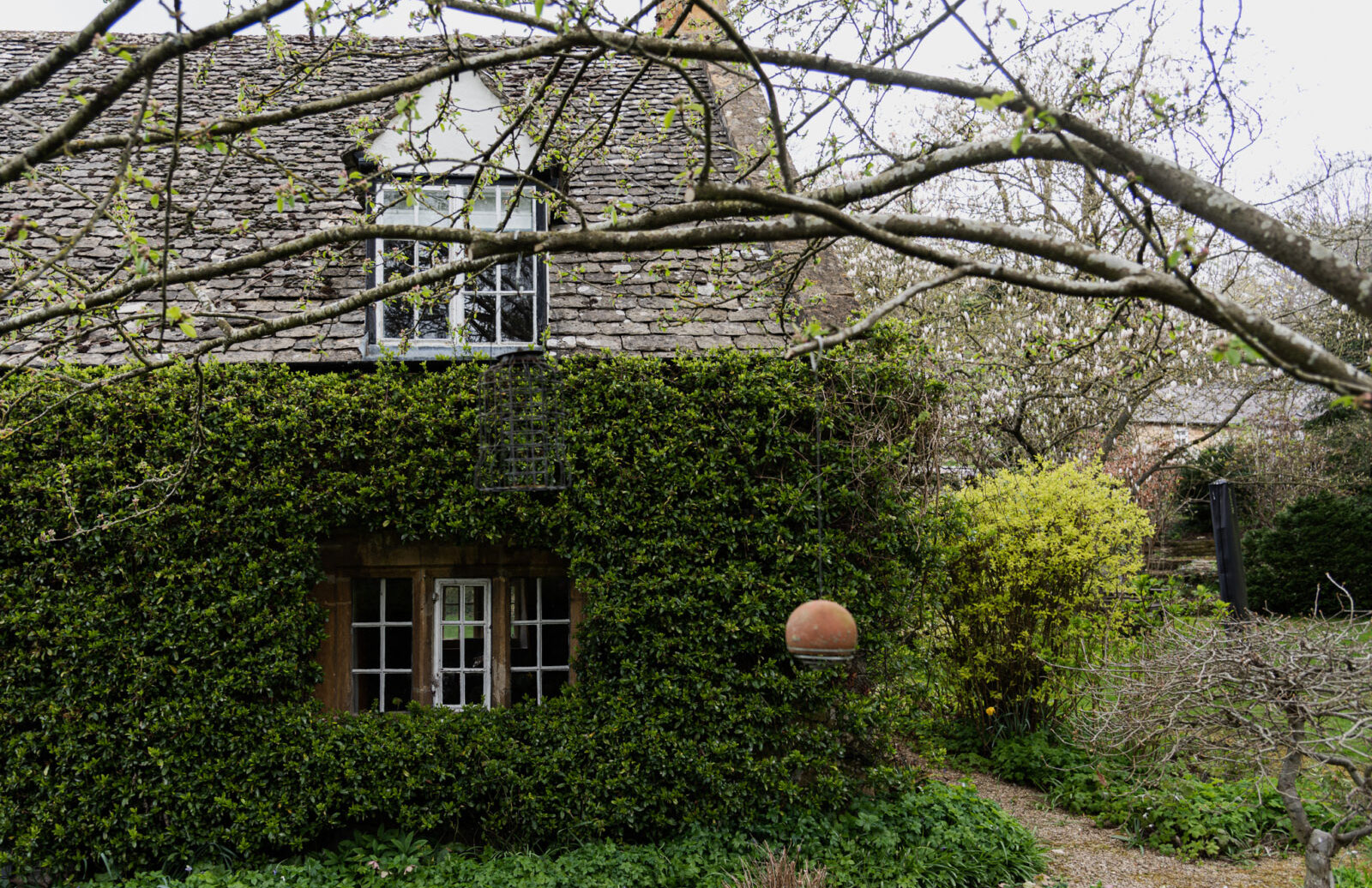 The pretty cottage is covered in ivy