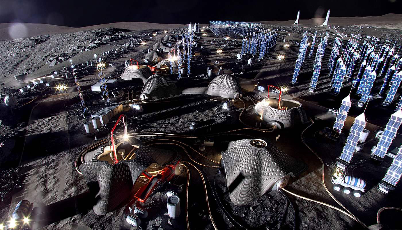 A render showing the imagined Moon Village