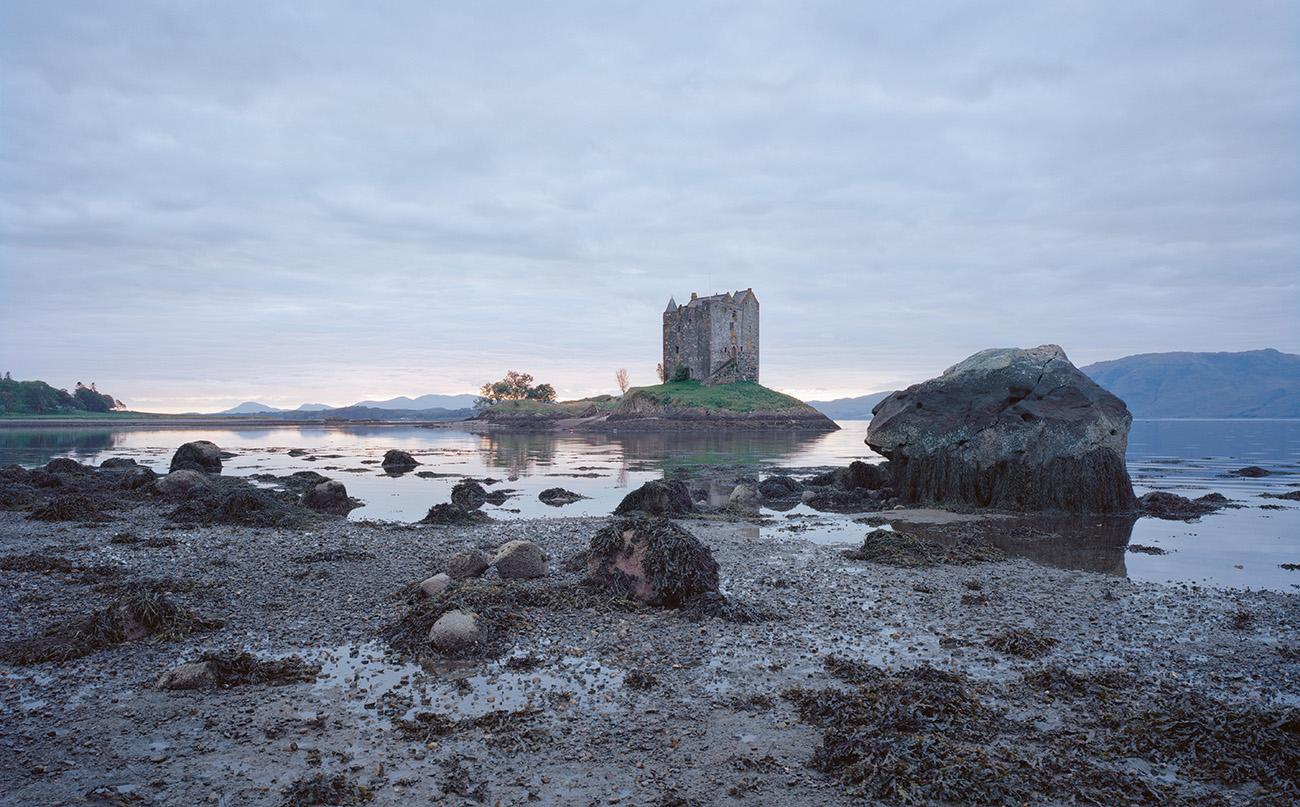 Stalker Castle is a fortified keep built on a tidal islet on Loch Laich – an inlet off Loch Linnhe in Argyl, Scotland. Photography: Frédéric Chaubin / courtesy Taschen.