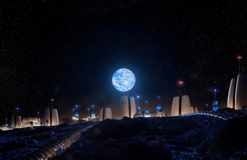 A lunar village designed by SOM is landing in Venice this spring