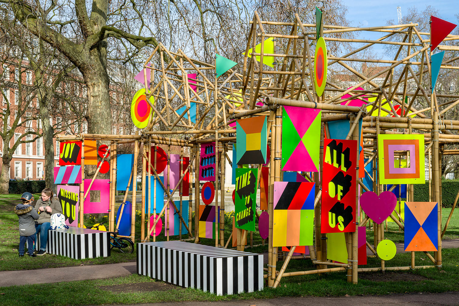 Morag Myerscough's 'See Through Pavilion' encourages passersby to stop and enjoy the park