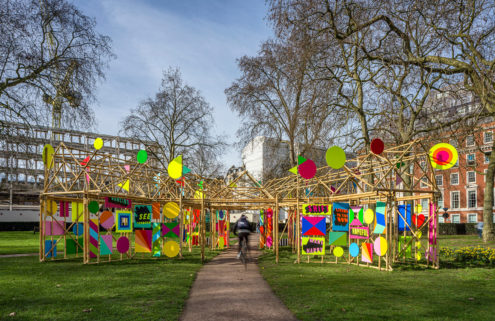 Morag Myerscough designs a cheerful bamboo pavilion for Londoners