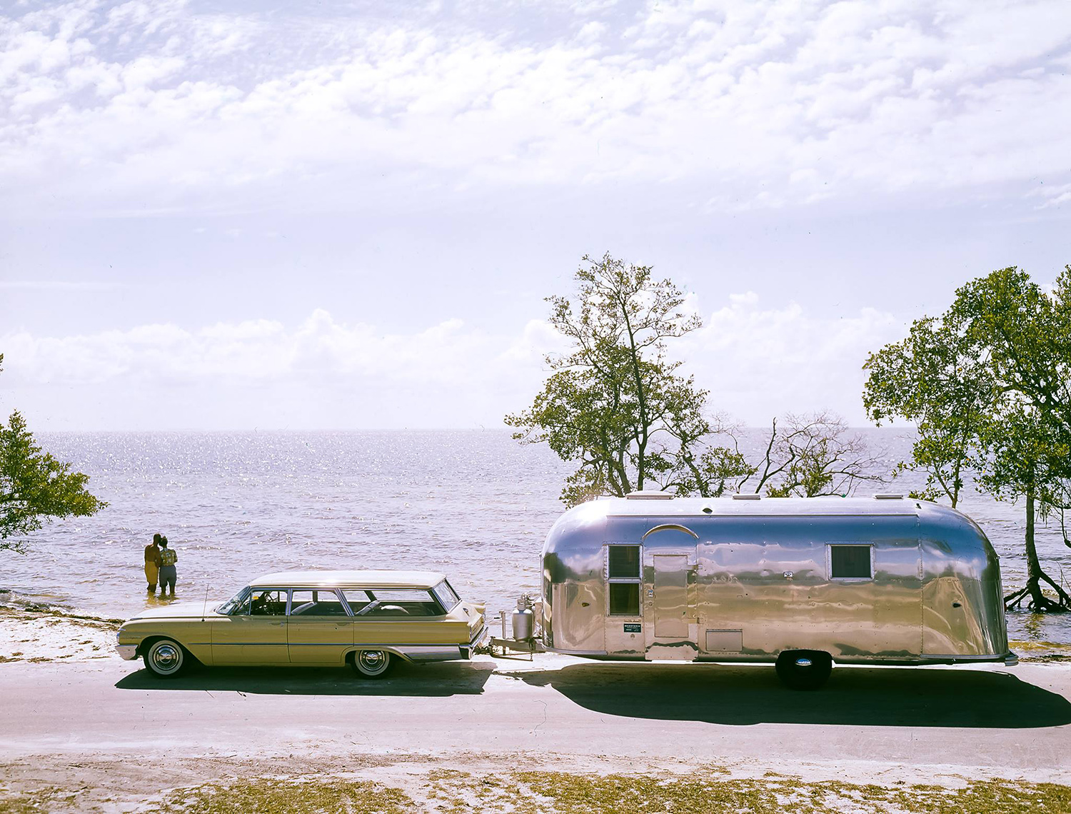 Archival footage of the airstream being towed