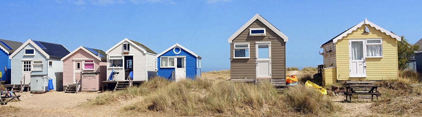 Beach huts in Mudeford Spit in Hengistbury Head, Bournemouth