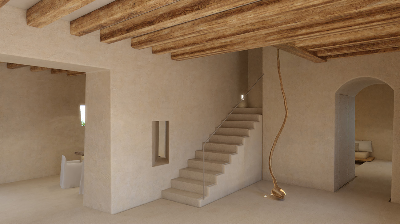 Wheat-coloured plaster is used while beams have been left exposed