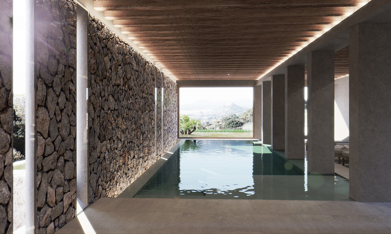 A shaded lap pool - part of the hotel's spa facilities