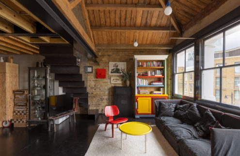 Black concrete and steel chime inside this London warehouse conversion