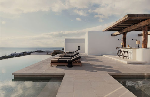 Peace reigns at this tranquil Mykonos hotel perched above the sea