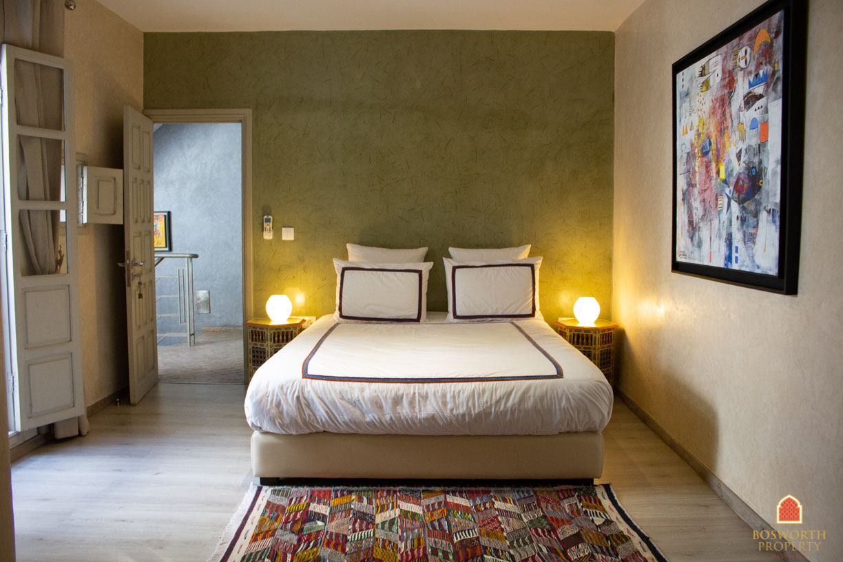 The riad has been recently refurbished in a modern style that reframes the traditional architecture