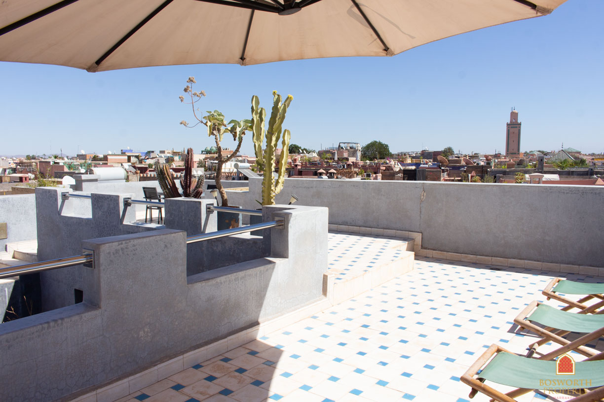 Undoubtedly the best space in the property is its roof terrace which has views over the medina, nearby palace and the mountains in the distance