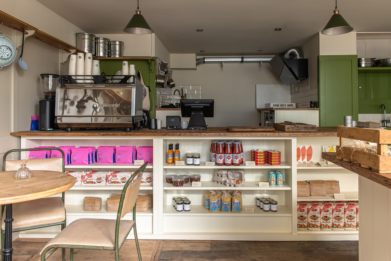 As well as being a cafe and winebar, the space also sells a selection of groceries.