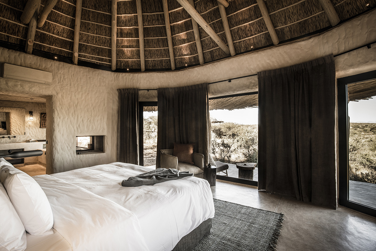 Lodges feature rough walls and hand-finished thatched roof