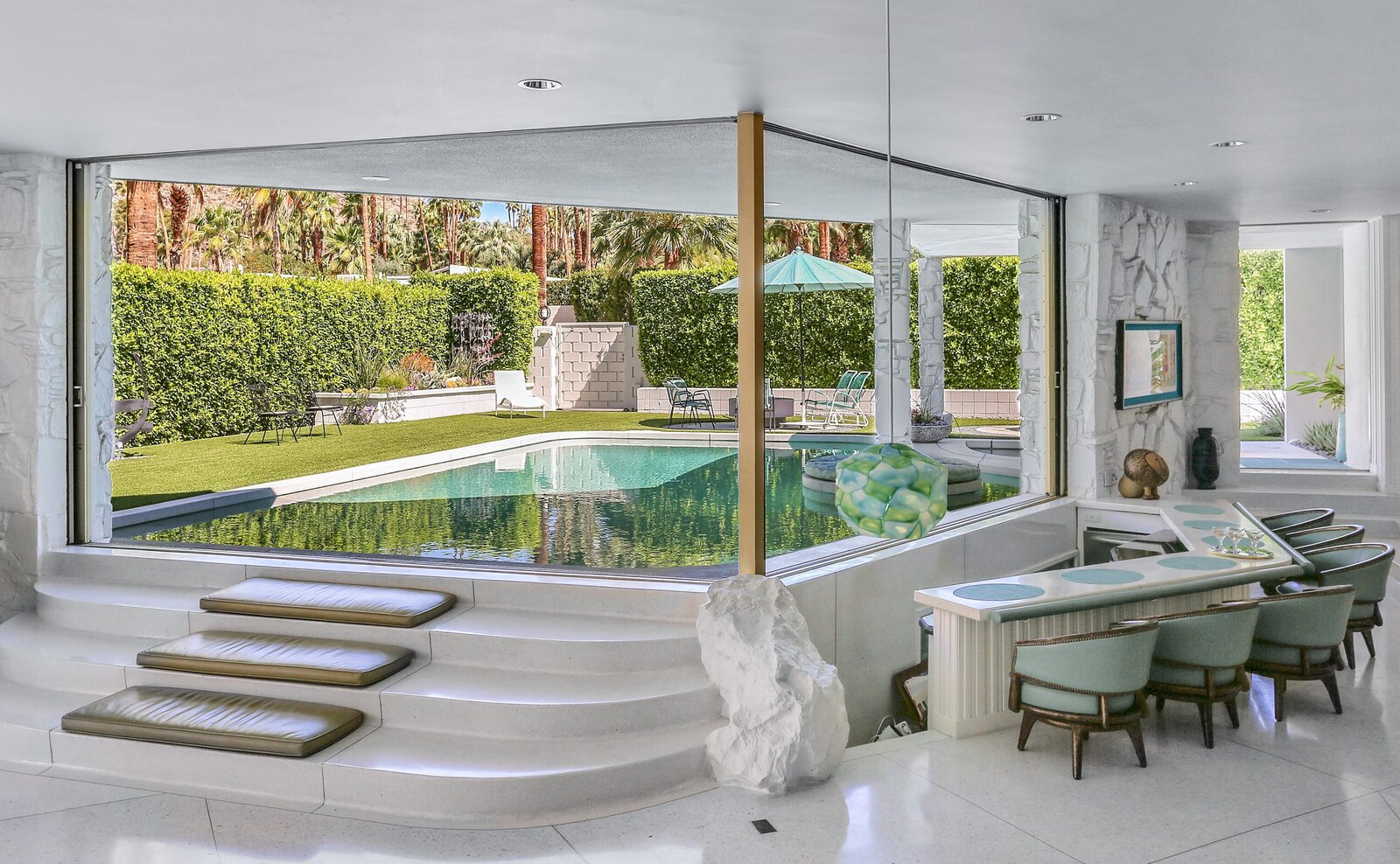 The pool can be entered without going outdoors – an unusual feature requested when it was built