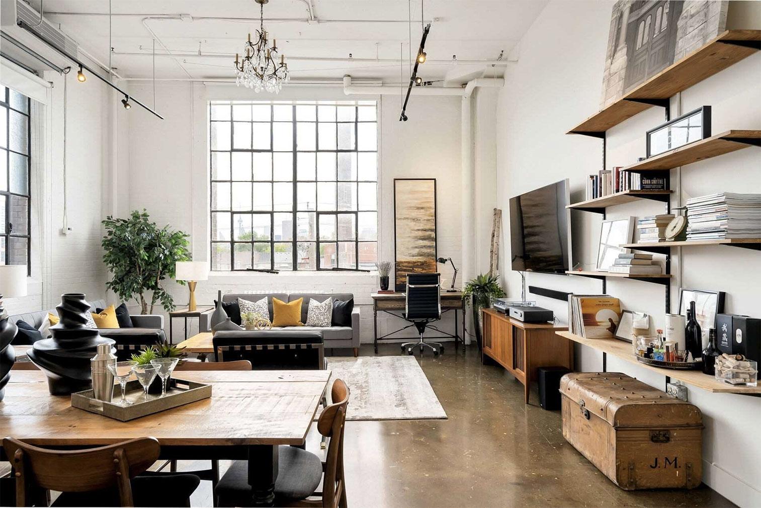 Hard loft living: the warehouse loft has 13.6-ft-high ceilings and polished concrete floors