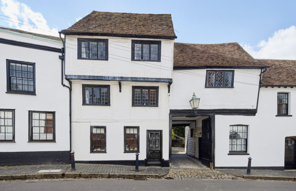There's nary a straight line in sight at Bankhart House – a historic Grade II listed townhouse in St Albans, Hertfordshire, whose crooked silhouette is testament to its rich past.