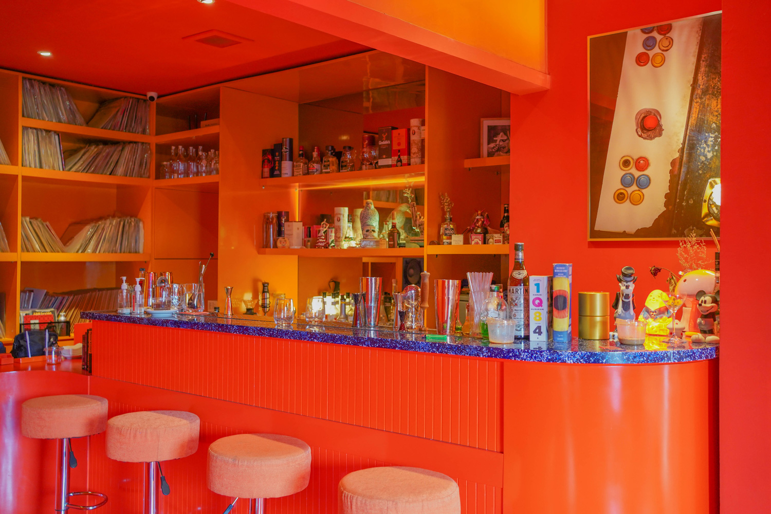 The cocktail menu riffs on a 70s vibe too and is organised by colour with song-inspired drink names including a Yellow Submarine