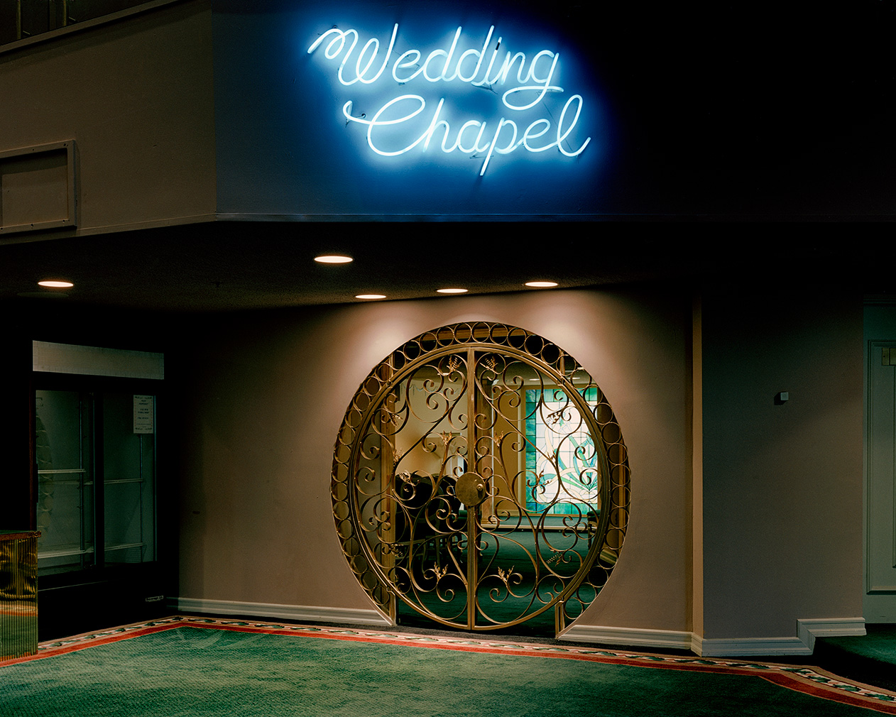 'The Neon Chapel, Las Vegas', Las Vegas by Jane Hilton. Part of For Better Or For Worse at the Solaris Gallery, Hastings. Courtesy of the artist and gallery