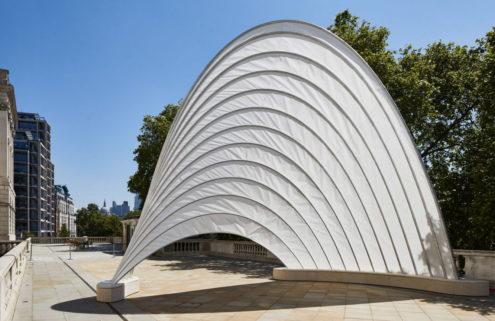 Ini Archibong has unveiled his sail-like pavilion at London's Design Biennale