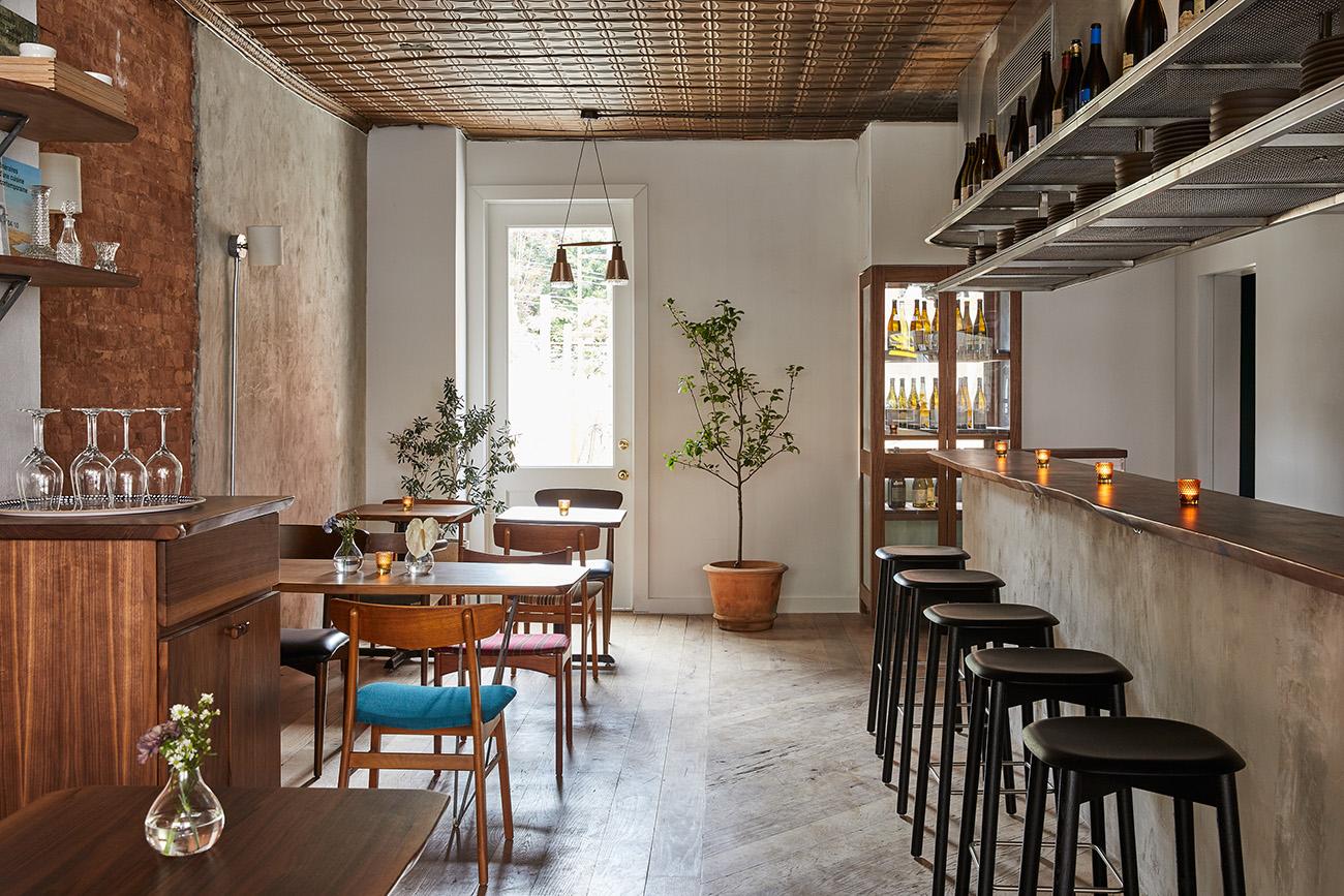 A bar runs the length of the restaurant interior