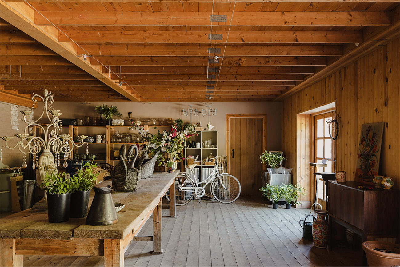 A florist studio inside one of the outbuildings.