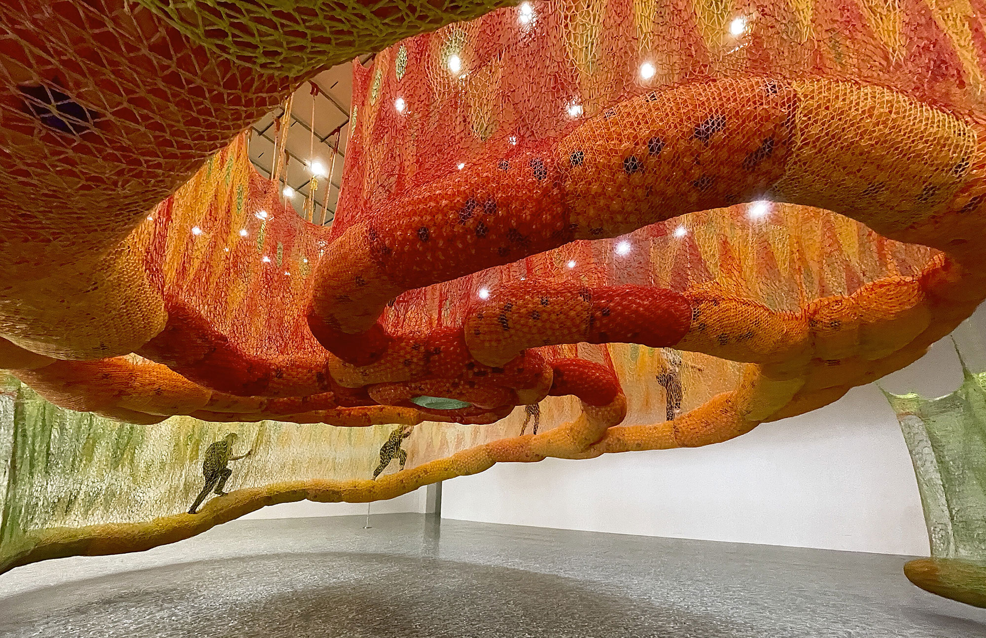 Artist Ernesto Neto crochets a 79-ft-long labyrinth inside Houston's Museum of Fine Arts