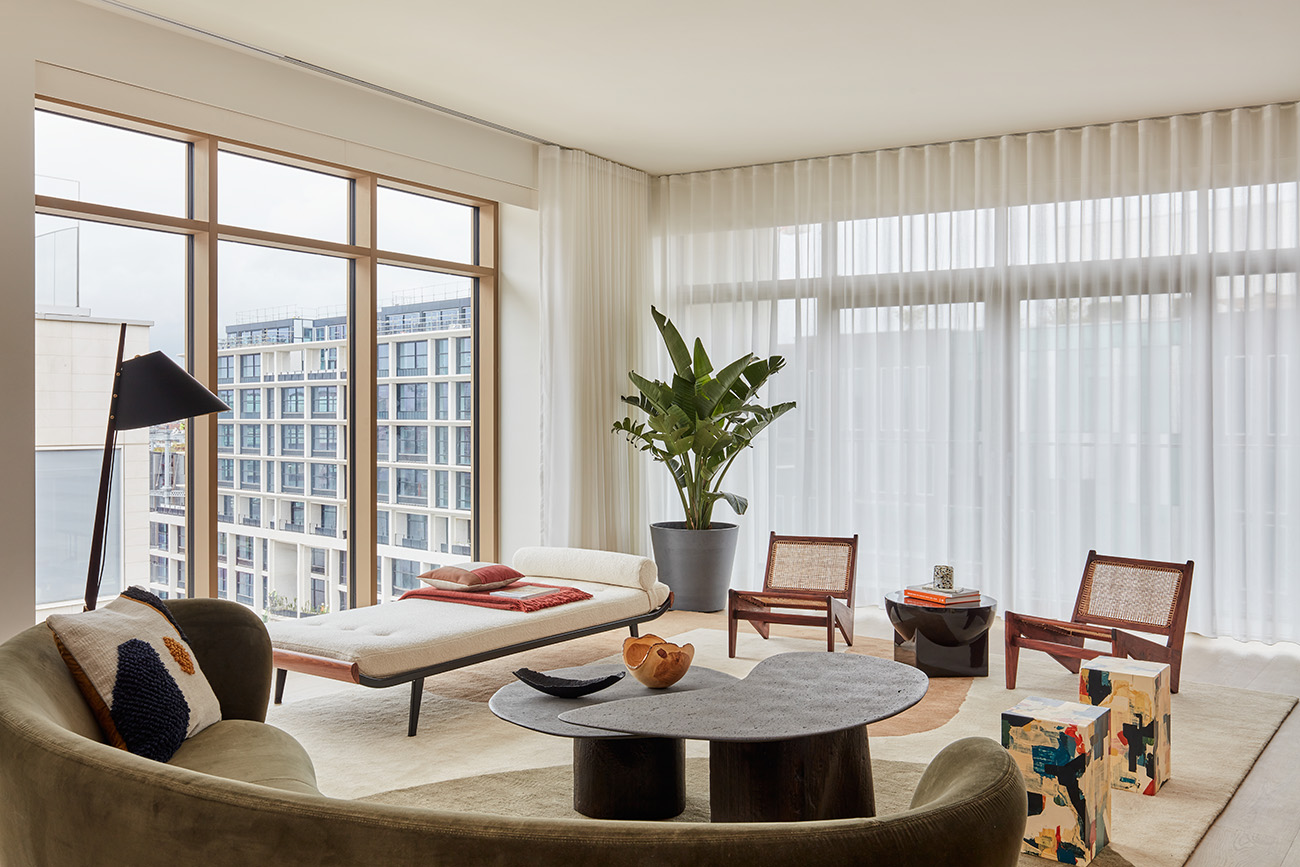 The freshly unveiled 2,200 sq ft apartment occupies the 10th floor of the Squire & Partners-designed building, part of the third and final stage of construction at the central London neighbourhood.