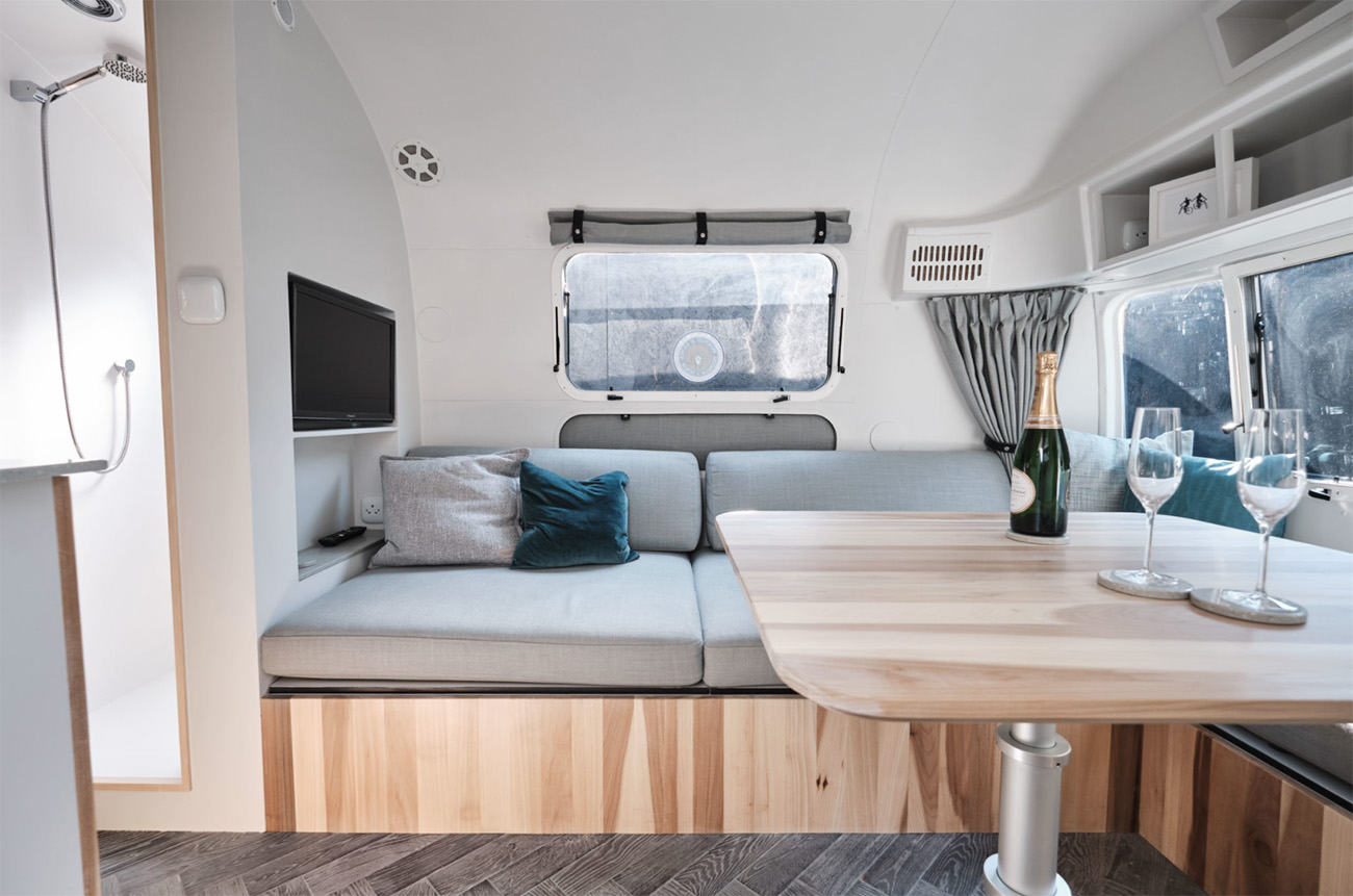 The hydraulic operated table and sofa  can be used as a second sleeping area
