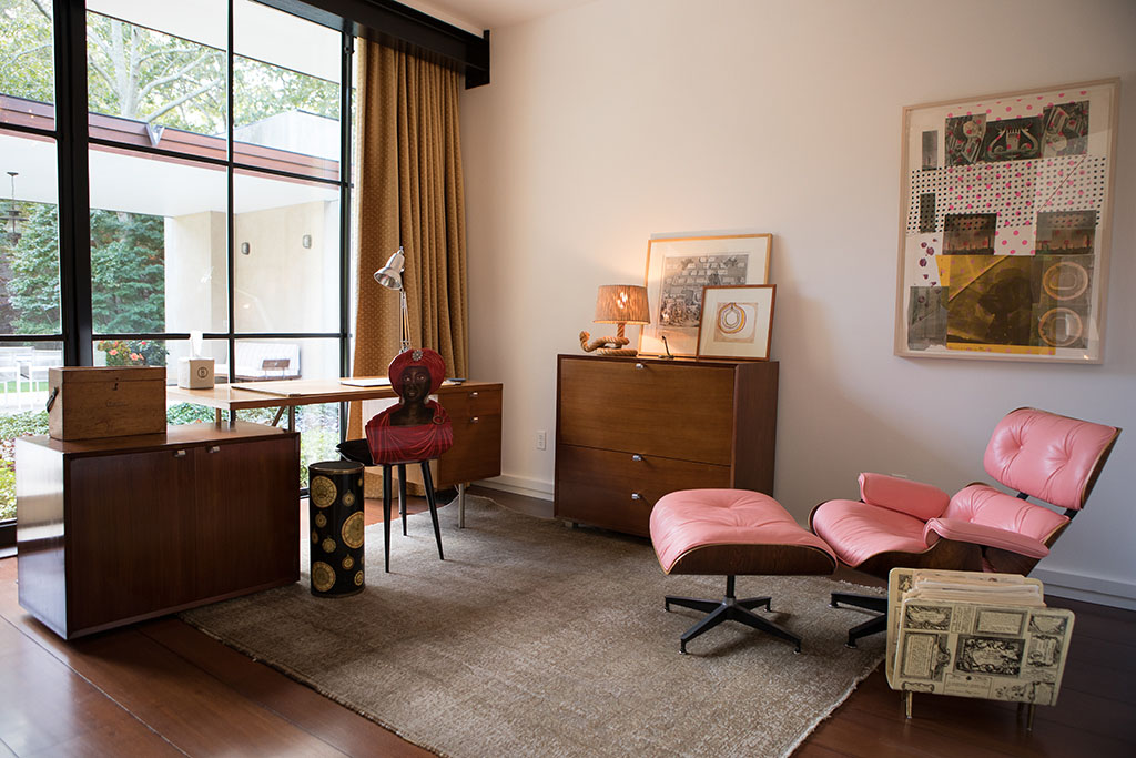 Phillip's study is furnished with pieces by Eames, Mies and Prouve