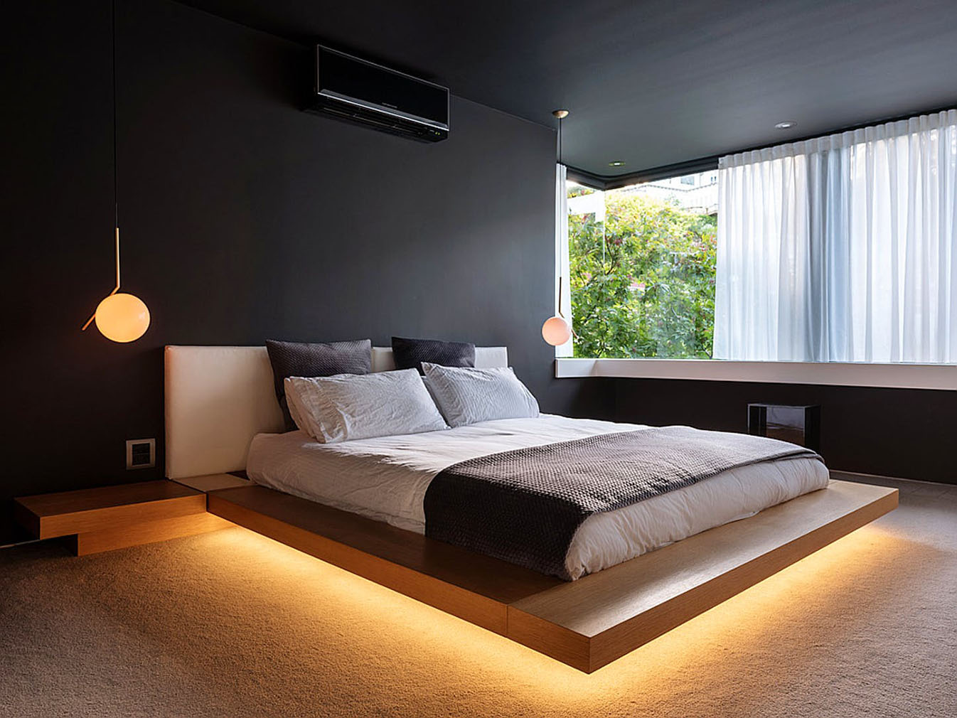 The floating master bed
